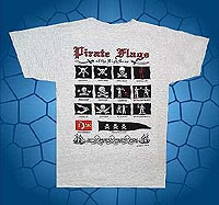 pirate flags of the high seas t-shirt features pirates such as Screen Printed T-shirts featuring, pirate flags, black beard, steade bonnet, jack rackam, edward low, richard worley, henry every, edward england, emanuel wynne, walter kennedy, bartholomew roberts, thomas tew, christopher moody