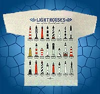 lighthouses of the southeast t-shirt features, assateague lighthouse, cape henry lighthouse, currituck beach lighthouse, bodie island lighthouse, cape hatteras lighthouse, cape lookout lighthouse, ocracoke island lighthouse, baldhead lighthouse, oak island lighthouse, hunting island lighthouse morris island lighthouse, harbor town lighthouse, tybee island lighthouse, st, simons lighthouse, st. augustine lighthoue, ponce de leon inlet lighthouse, amelia island lighthouse, jupiter inlet lighthouse, hillsboro inlet lighthouse, cape florida lighthouse, key west lighthouse