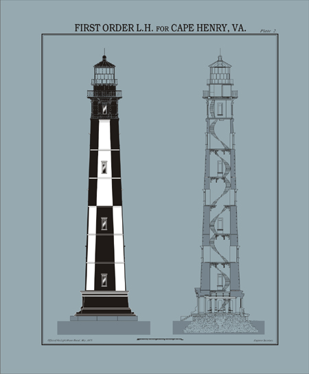 Cape henry lighthouse plans for Lighthouse blueprints plans