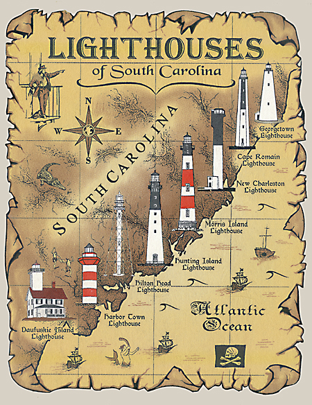 Lighthouses of south carolina t shirt for T shirt printing charleston sc
