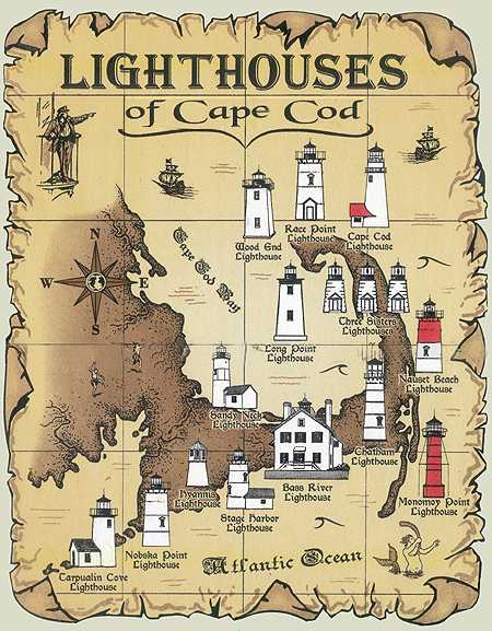 Lighthouses of Cape Cod Map T-Shirt