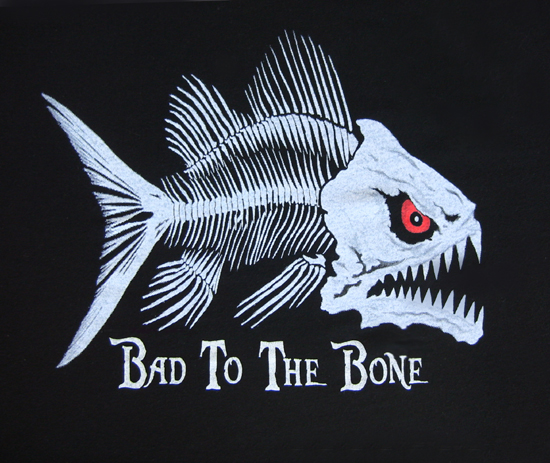 Glow in the dark fish bones t shirt for Fish without bones