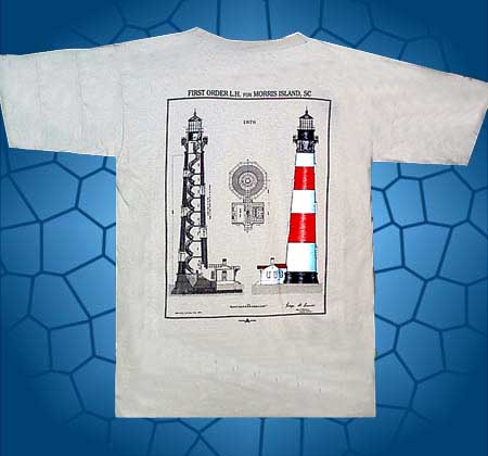 morris island lighthouse plans t-shirt, the morris island light is located near folly beach, south carolina