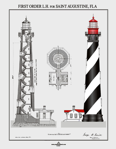 St augustine lighthouse plans t shirt for Lighthouse blueprints plans